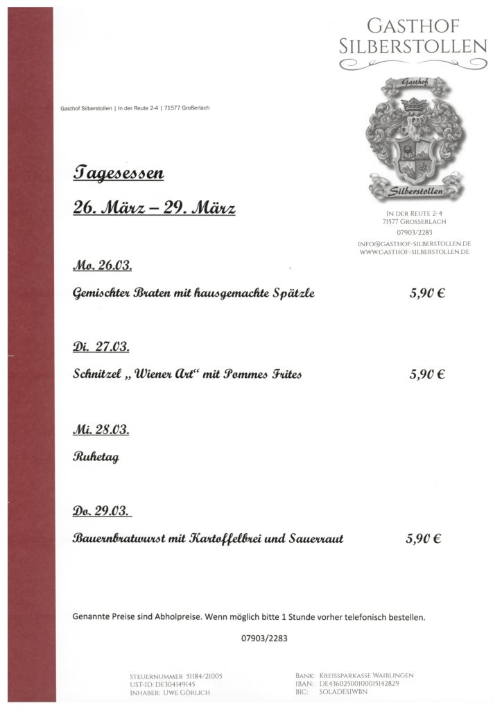 tagesessen der kw 13 gasthof silberstollen. Black Bedroom Furniture Sets. Home Design Ideas
